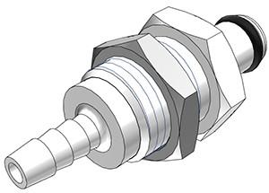 PMC4202 - Stecker 3,2 mm Schlauchanschluss, Plattenmontage, ohne Absperrventil, Buna-N Dichtung