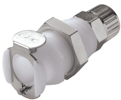 PLCD12006 - Kupplung 9,5mm AD / 6,4 mm ID Klemmringverschraubung, mit Absperrventil, Buna-N Dichtung