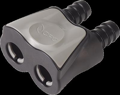 DTLD17006MBLK - Doppelkupplung 9,5 mm Schlauchanschluss, mit Absperrventil, Buna-N Dichtung