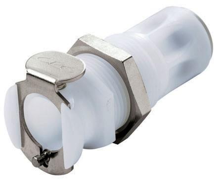 PLC11004 - Kupplung 6,4 mm AD JG®, Plattenmontage, ohne Absperrventil