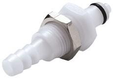 PMCD4204 - Stecker 6,4 mm Schlauchanschluss, Plattenmontage, mit Absperrventil, Buna-N Dichtung