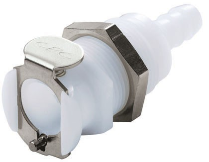 PLCD16004 - Kupplung 6,4 mm Schlauchanschluss, Plattenmontage, mit Absperrventil, Buna-N Dichtung