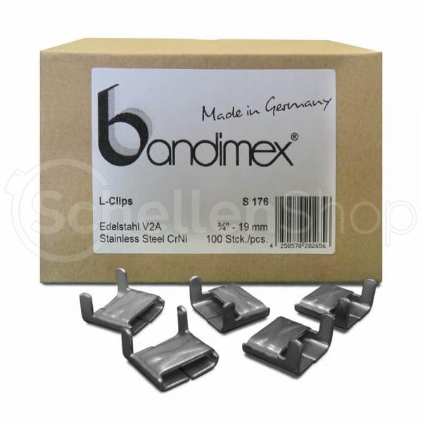 Bandimex L-Clips für Bandbreite 19 mm (3⁄4″), V2A Edelstahl - verstärkte Ausführung