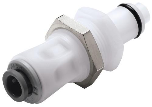 PLCD41004 - Stecker 6,4 mm AD JG®, Plattenmontage, mit Absperrventil, Buna-N Dichtung