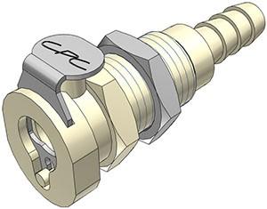 PMCD160412 - Kupplung 6,4 mm Schlauchanschluss, Plattenmontage, mit Absperrventil, EPDM-Dichtung