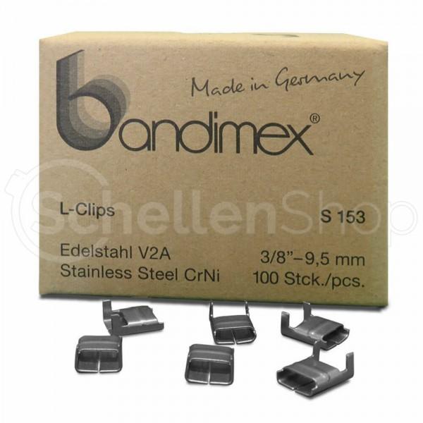 Bandimex L-Clips für Bandbreite 9 mm (3⁄8″), V2A Edelstahl