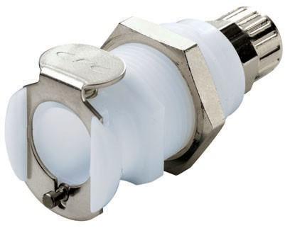 PLCD12004 - Kupplung 6,4 mm AD / 4,3 mm ID Klemmringverschraubung, Plattenmontage, mit Absperrventil