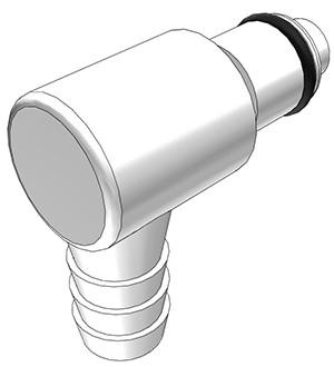 PLCD23006 - Stecker 9,5 mm Schlauchanschluss, mit Absperrventil, Buna-N Dichtung