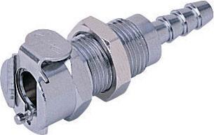 MCD1603 - Kupplung 4,8 mm Schlauchanschluss, Plattenmontage, mit Absperrventil, Buna-N Dichtung