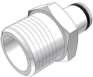 """PLC24006BSPT - Stecker 3/8"""" BSPT Außengewinde, ohne Absperrventil, Buna-N Dichtung"""