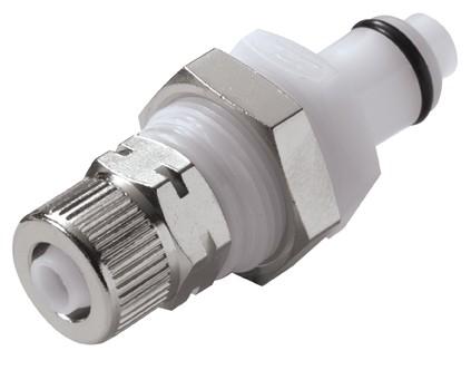 PLCD400M8 - Stecker 8,0 mm AD / 6,0 mm ID Klemmringverschraubung, Plattenmontage, mit Absperrventil