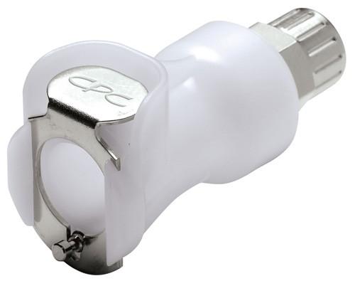 PLCD13004 - Kupplung 6,4 mm AD / 4,3 mm ID Klemmringverschraubung, mit Absperrventil, Buna-N