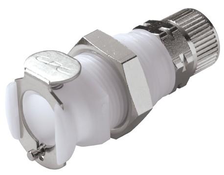 PLCD120M8 - Kupplung 8,0 mm AD / 6,0 mm ID Klemmringverschraubung, Plattenmontage, mit Absperrventil