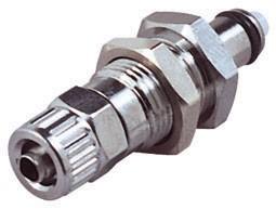 MCD4004 - Stecker 6,4 mm AD / 4,3 mm ID Klemmringverschraubung, Plattenmontage, Absperrventil