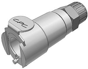 LCD13006 - Kupplung 6,4 mm AD / 4,3 mm ID Klemmringverschraubung, mit Absperrventil, Buna-N Dichtung