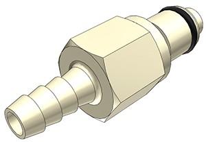 PLCD2200412 - Stecker 6,4 mm Schlauchanschluss, mit Absperrventil, EPDM-Dichtung