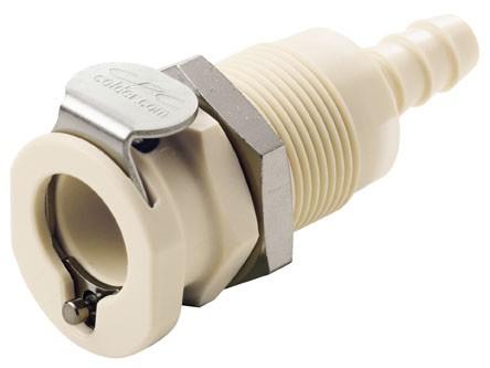 PLCD1600412 - Kupplung 6,4 mm Schlauchanschluss, Plattenmontage, mit Absperrventil, EPDM-Dichtung