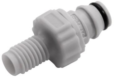 NS1D24042812 - Stecker 1/4-28 Außengewinde, mit Absperrventil, EPDM-Dichtung