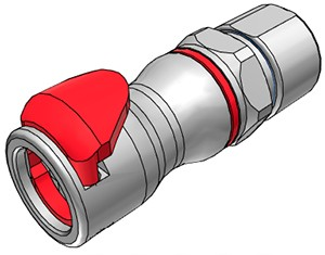 LQ6D13008RED - Kupplung 9,5 mm ID / 12,7 mm AD Klemmringverschraubung, mit Absperrventil, EPDM, Rot