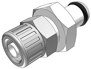 PMC2004 - Stecker 6,4 mm AD / 4,3 mm ID Klemmringverschraubung, ohne Absperrventil, Buna-N Dichtung