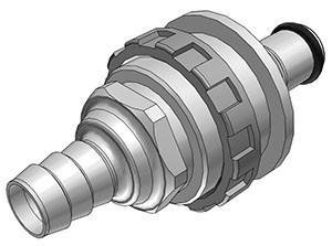 NS4D42006 - Stecker 9,5 mm Schlauchanschluss, Plattenmontage, mit Absperrventil, EPDM-Dichtung