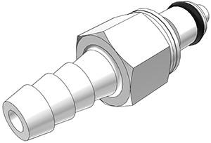 PMCD2204 - Stecker 6,4 mm Schlauchanschluss, mit Absperrventil, Buna-N Dichtung