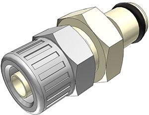 PMC200412 - Stecker 6,4 mm AD / 4,3 mm ID Klemmringverschraubung, ohne Absperrventil, EPDM-Dichtung