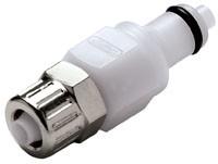 PMCD20M42V - Stecker 4,0 mm AD / 2,0 mm ID Klemmringverschraubung, mit Absperrventil, VITON-Dichtung