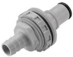 NS6D42008 - Stecker 12,7 mm Schlauchanschluss, Plattenmontage, mit Absperrventil, EPDM-Dichtung