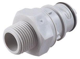 """HFCD24612 - Stecker 3/8"""" NPT Außengewinde, mit Absperrventil, EPDM-Dichtung"""