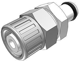 PMC2006 - Stecker 9,5 mm AD / 6,4 mm ID Klemmringverschraubung, ohne Absperrventil, Buna-N Dichtung