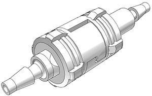SMCDM3 - komplette Kupplung 3,0 mm Schlauchanschluss, mit Absperrventil, Buna-N Dichtung