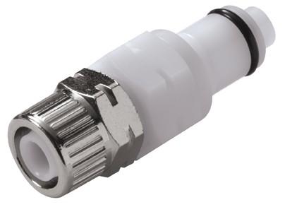 PLCD200M10 - Stecker 10,0 mm AD / 8,0 mm ID Klemmringverschraubung, mit Absperrventil, Buna-N