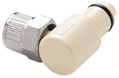 PLCD2100612 - Stecker 9,5 mm AD / 6,4 mm ID Klemmringverschraubung, mit Absperrventil, EPDM-Dichtung