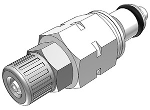 PMCD20M42 - Stecker 4,0 mm AD / 2,0 mm ID Klemmringverschraubung, mit Absperrventil, Buna-N Dichtung