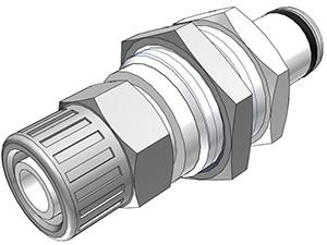 PLC400M10 - Stecker 10,0 mm AD / 8,0 mm ID Klemmringverschraubung, ohne Absperrventil, Buna-N