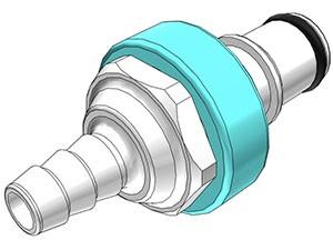 NS4D2200406 - Stecker 6,4 mm Schlauchanschluss, mit Absperrventil, EPDM-Dichtung