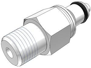 """PMCD2402 - Stecker 1/8"""" NPT Außengewinde, mit Absperrventil, Buna-N Dichtung"""