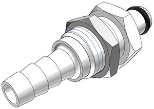 PMC4204 - Stecker 6,4 mm Schlauchanschluss, Plattenmontage, ohne Absperrventil, Buna-N Dichtung