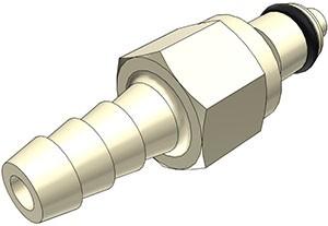 PMCD220412 - Stecker 6,4 mm Schlauchanschluss, mit Absperrventil, EPDM-Dichtung