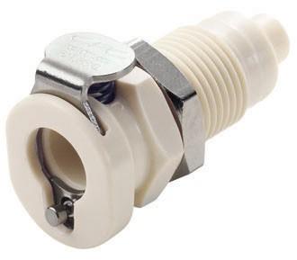 PMCD160112 - Kupplung 1,6 mm Schlauchanschluss, Plattenmontage, mit Absperrventil, EPDM-Dichtung