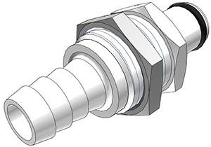 PLC42006 - Stecker 9,5 mm Schlauchanschluss, Plattenmontage, ohne Absperrventil, Buna-N Dichtung
