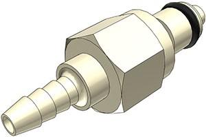 PMCD220212 - Stecker 3,2 mm Schlauchanschluss, mit Absperrventil, EPDM-Dichtung