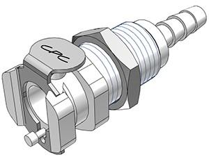 PMCD1603 - Kupplung 4,8 mm Schlauchanschluss, Plattenmontage, mit Absperrventil, Buna-N Dichtung