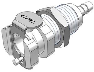 PMCD1602 - Kupplung 3,2 mm Schlauchanschluss, Plattenmontage, mit Absperrventil, Buna-N Dichtung