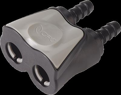 DTLD17004MBLK - Doppelkupplung 6,4 mm Schlauchanschluss, mit Absperrventil, Buna-N Dichtung