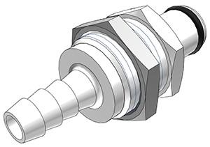 PLC42004 - Stecker 6,4 mm Schlauchanschluss, Plattenmontage, ohne Absperrventil, Buna-N Dichtung