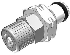 PMC20M42 - Stecker 4,0 mm AD / 2,0 mm ID Klemmringverschraubung, ohne Absperrventil, Buna-N Dichtung