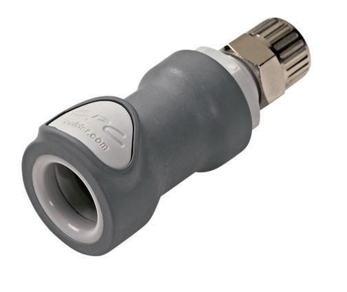 NS4D13006 - Kupplung 9,5 mm AD / 6,4 mm ID Klemmringverschraubung, mit Absperrventil, EPDM-Dichtung