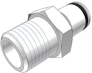 """PLC24004BSPT - Stecker 1/4"""" BSPT Außengewinde, ohne Absperrventil, Buna-N Dichtung"""